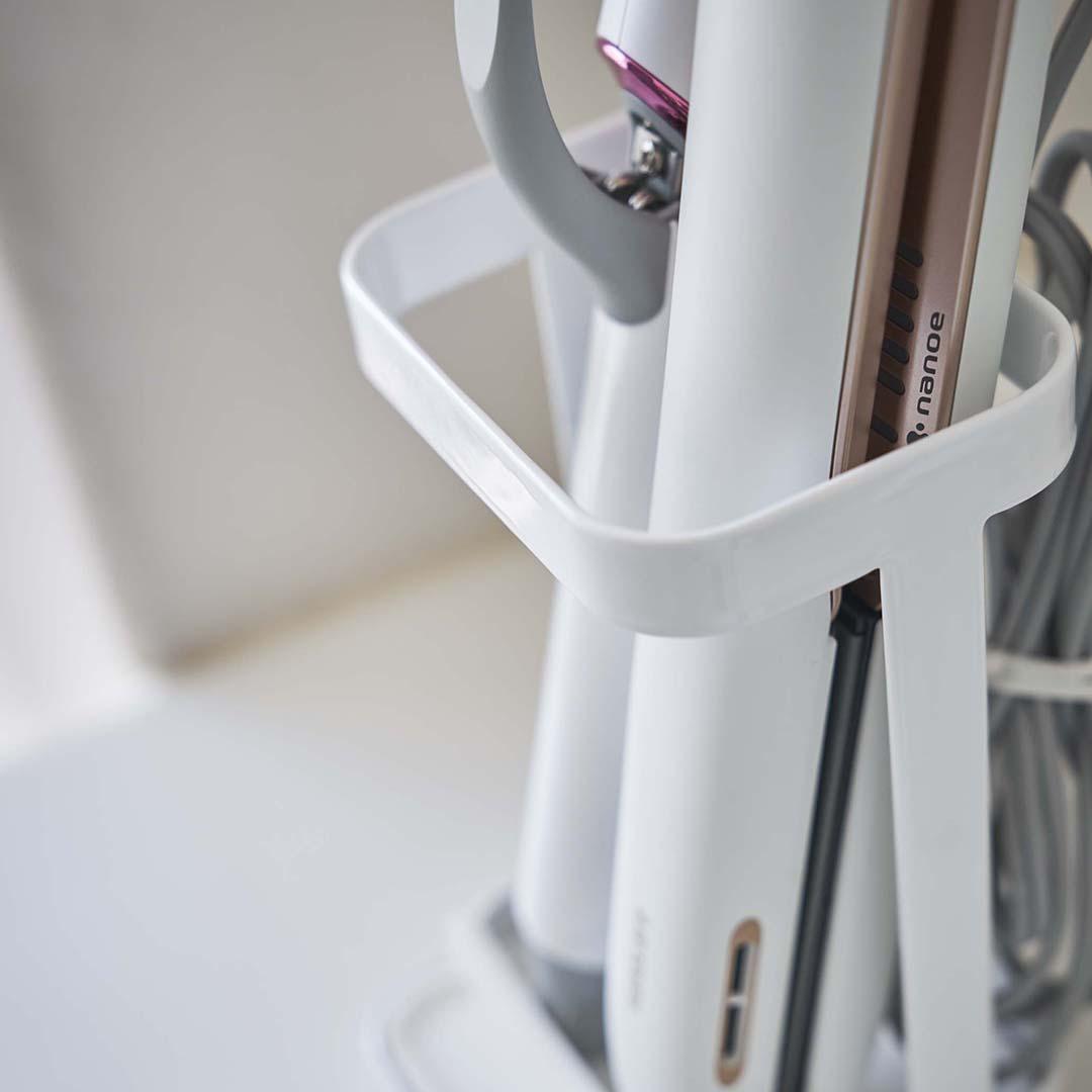 耐熱トレー付き ヘアーアイロンスタンド タワー ホワイト