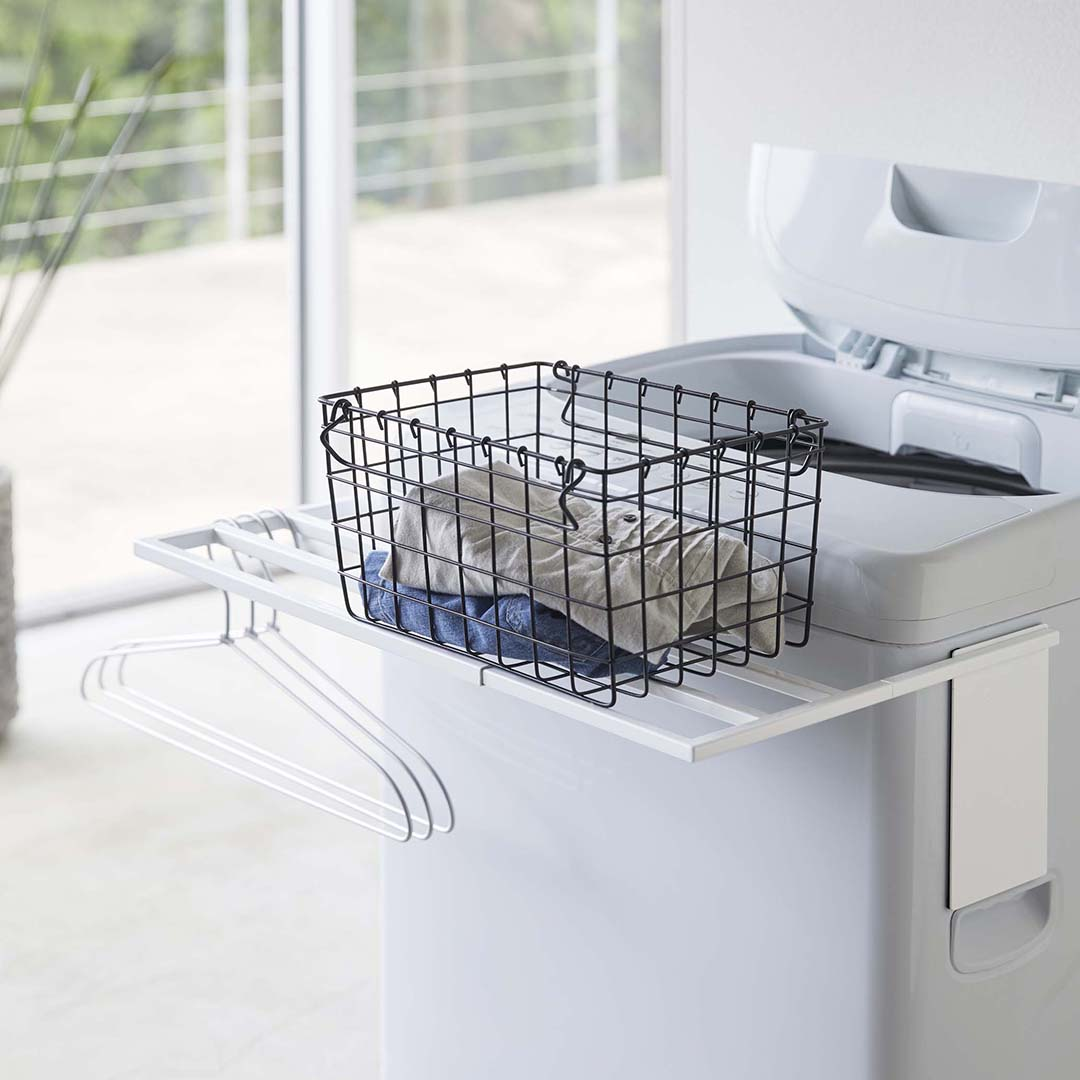 マグネット伸縮洗濯機バスタオルハンガー タワー ホワイト