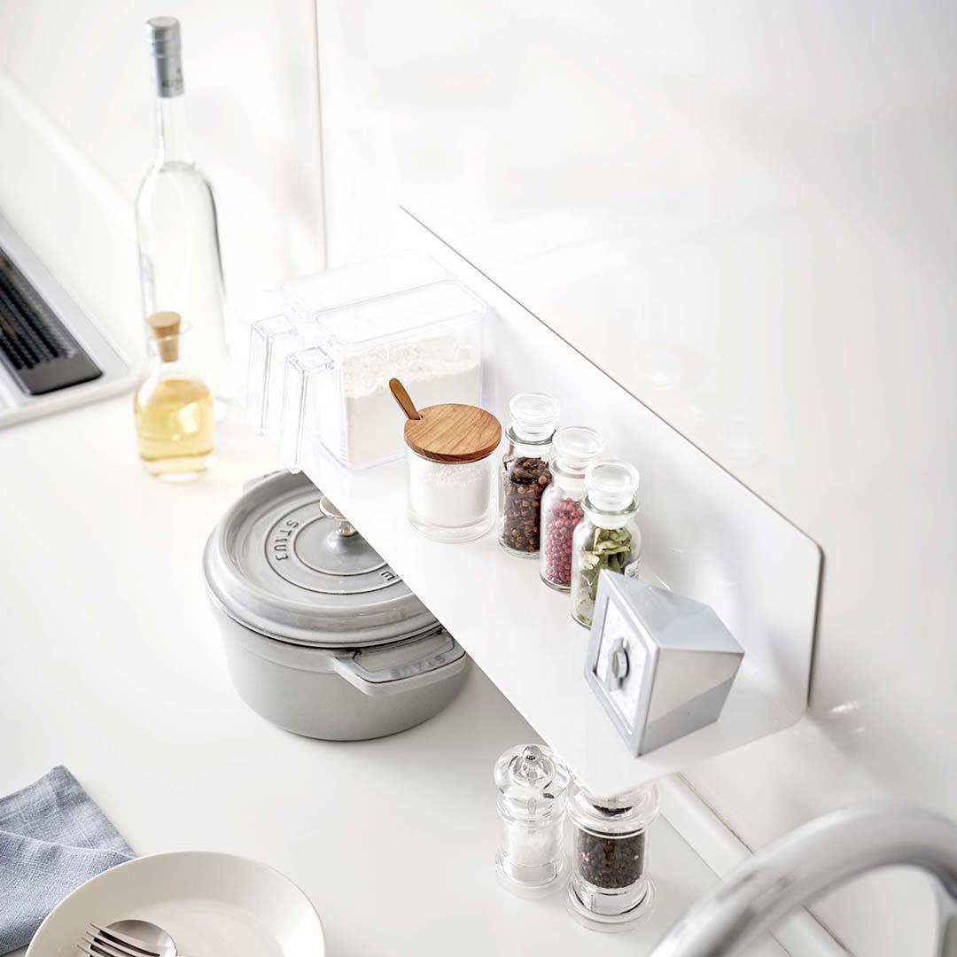 マグネットキッチン棚 タワー ワイドホワイト