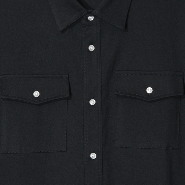 Long length / Short-sleeved shirt <BLACK> Tシャツ素材