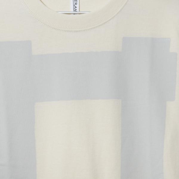 Square Print T-shirt <BEIGE>(オーバーサイズシャツ)