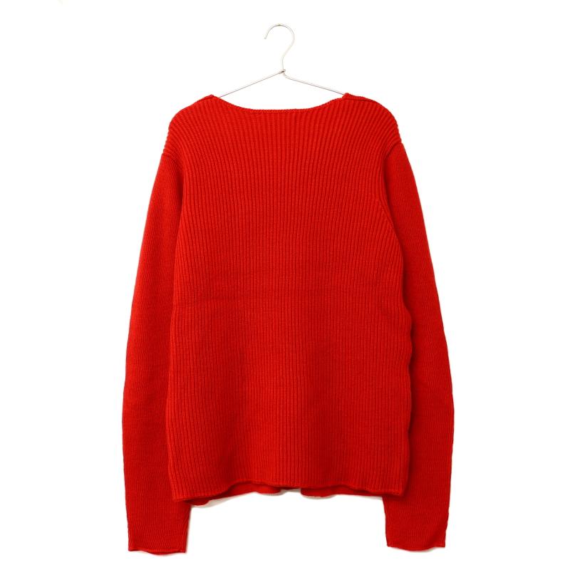 Uネック ニットセーター RED
