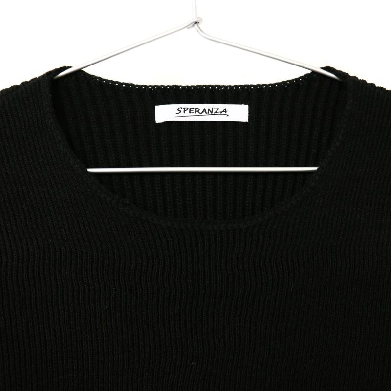 Uネック ニットセーター BLACK