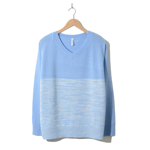 Vネックボーダーニットセーター LIGHT BLUE x WHITE