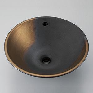 【KV305F】美術工芸手洗鉢 黒金彩(くろきんさい)