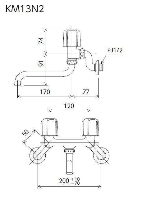 【KM13N2】2ハンドル混合栓