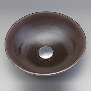 【KV37A】美術工芸手洗鉢 黒泥(こくでい)/プレーン