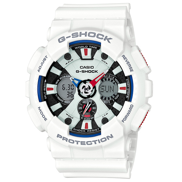 カシオGショック白 アナログ・デジタル腕時計  GA-120TR-7AJF トリコロールカラー メンズ 国内正規品