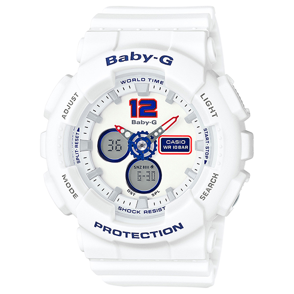 カシオ ベビーG アナ・デジ 腕時計   BA-120TR-7BJF White Tricolor Series  レディース 国内正規品