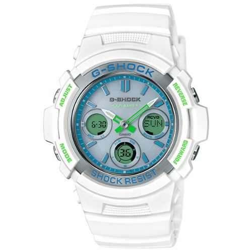 カシオGショック白 ソーラー電波腕時計  AWG-M100SWG-7AJF メンズ 国内正規品 【動画有】