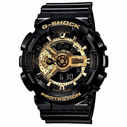 カシオGショック黒金 アナログ・デジタル腕時計  GA-110GB-1AJF ブラック×ゴールドシリーズ メンズ 国内正規品 【動画有】