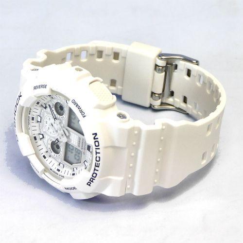 カシオGショック白 アナログ・デジタル腕時計  GA-100MW-7AJF Marine White メンズ 国内正規品