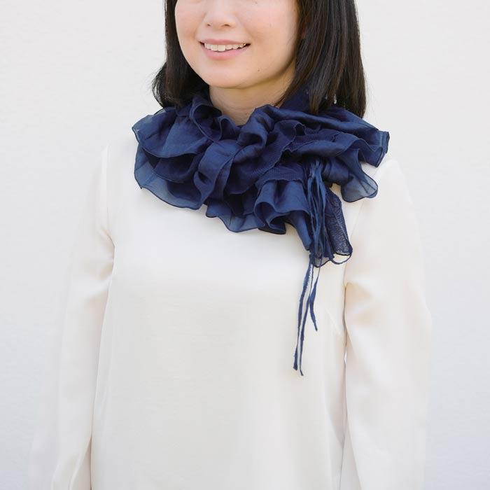 【壺草苑 藍染】フリルストール(濃色) (お買い得品)