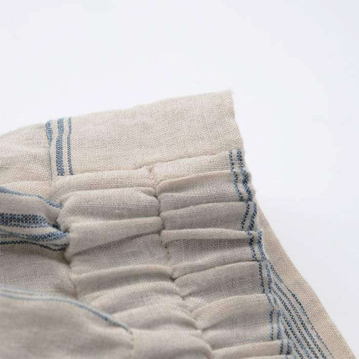 【壺草苑 藍染】リネン絣ストライプ バルーンスカート(お買い得品)