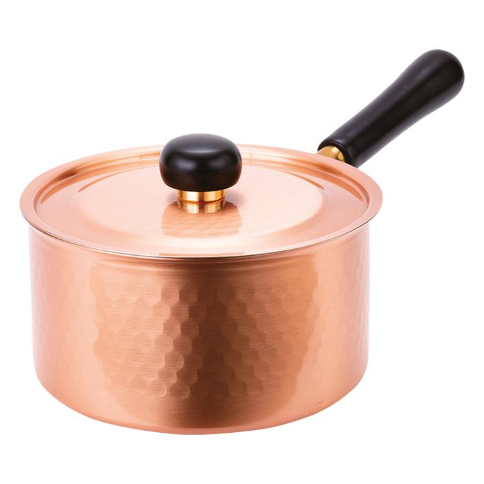 【HI対応 銅製片手鍋】200V対応鎚目片手鍋(18cm)