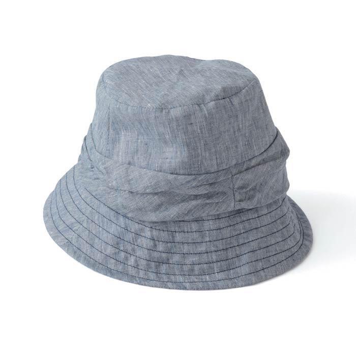 【壺草苑 藍染】リネンシャンブレーステッチ帽子 (紺)