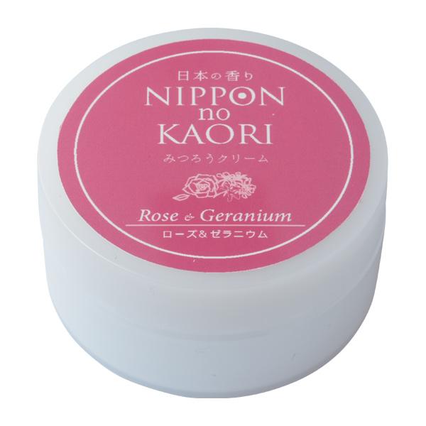 【純国産アロマ 日本の香りシリーズ】みつろうクリーム (ローズ&ゼラニウム)