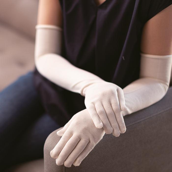 【寺田ニット:KURUMI FACTORY】シルク手袋 ロング
