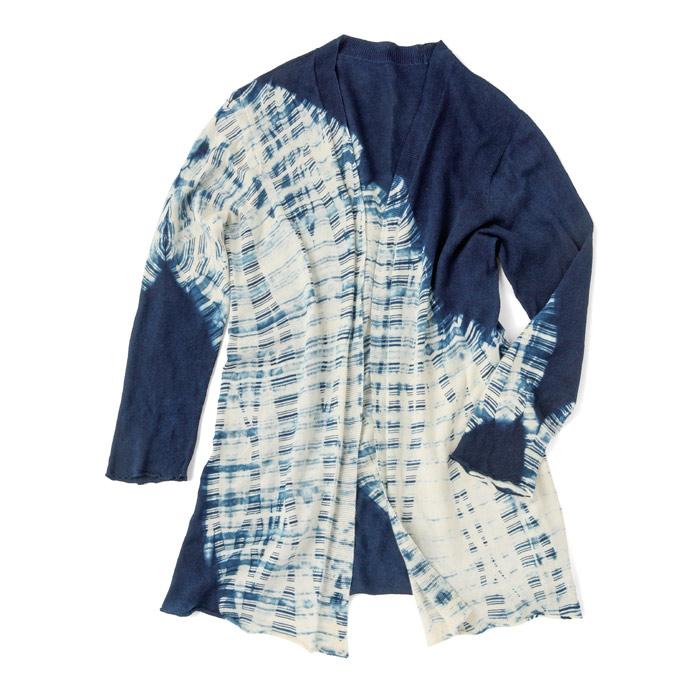 【壺草苑 藍染】オーガニックコットンニットカーディガン (板締め) (お買い得品)