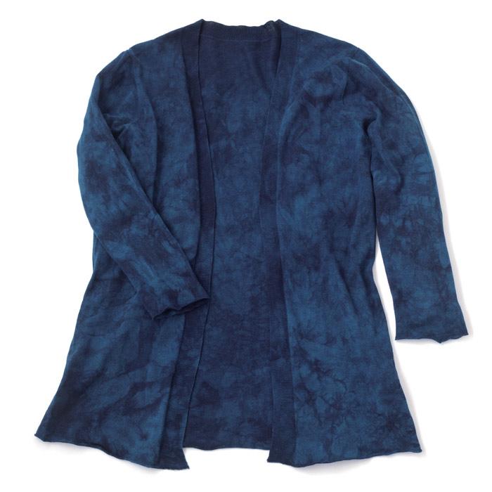 【壺草苑 藍染】オーガニックコットンニットカーディガン (お買い得品)