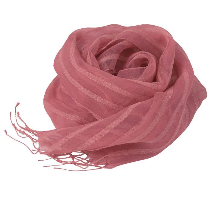 【シルク製】風を纏う花織ストール(茜) (お買い得品)
