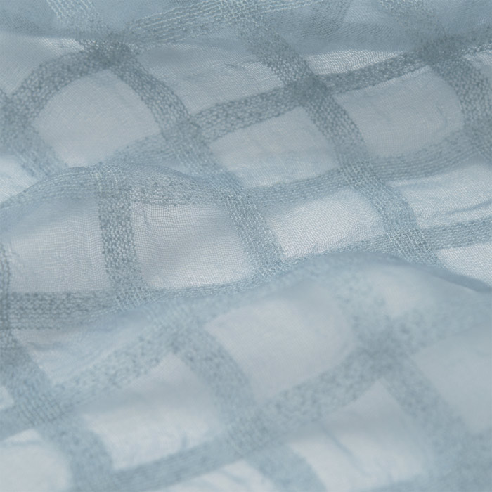 【シルク製】風を纏う花織ストール(梔子 格子模様) (お買い得品)