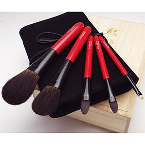 熊野筆灰リス5本セット 赤軸