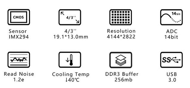 ZWO ASI 294MC Pro(DDR3バッファメモリ内蔵/カラー/冷却モデル)