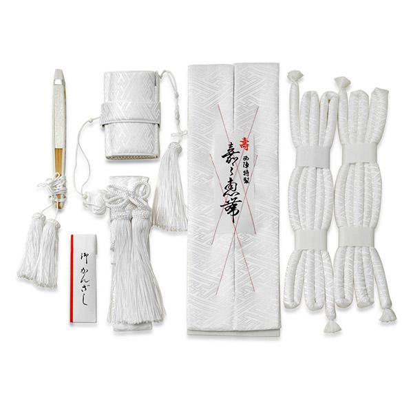 婚礼箱迫セット 正絹 白サヤ型 花嫁5点セット 懐剣 筥迫(はこせこ) 箱せこ 丸ぐけ 抱え帯 末広 送料無料