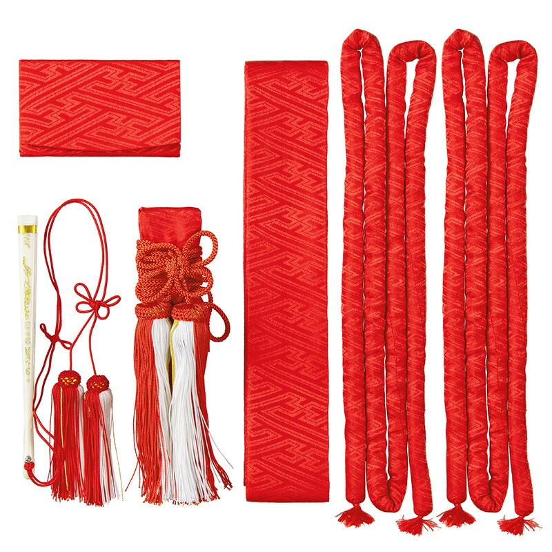 婚礼箱迫セット 赤 サヤ型 花嫁5点セット 懐剣 筥迫(はこせこ) 箱せこ 丸ぐけ 抱え帯 末広 送料無料