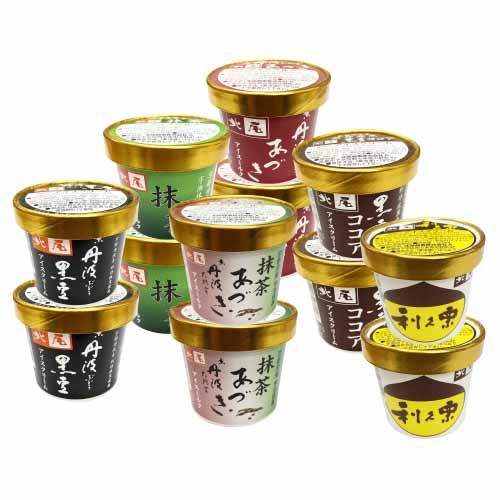 北尾のアイスクリーム 12個入 あ-4 (黒豆・栗・あづき・黒豆ココア・抹茶・抹茶あづき×各2個)