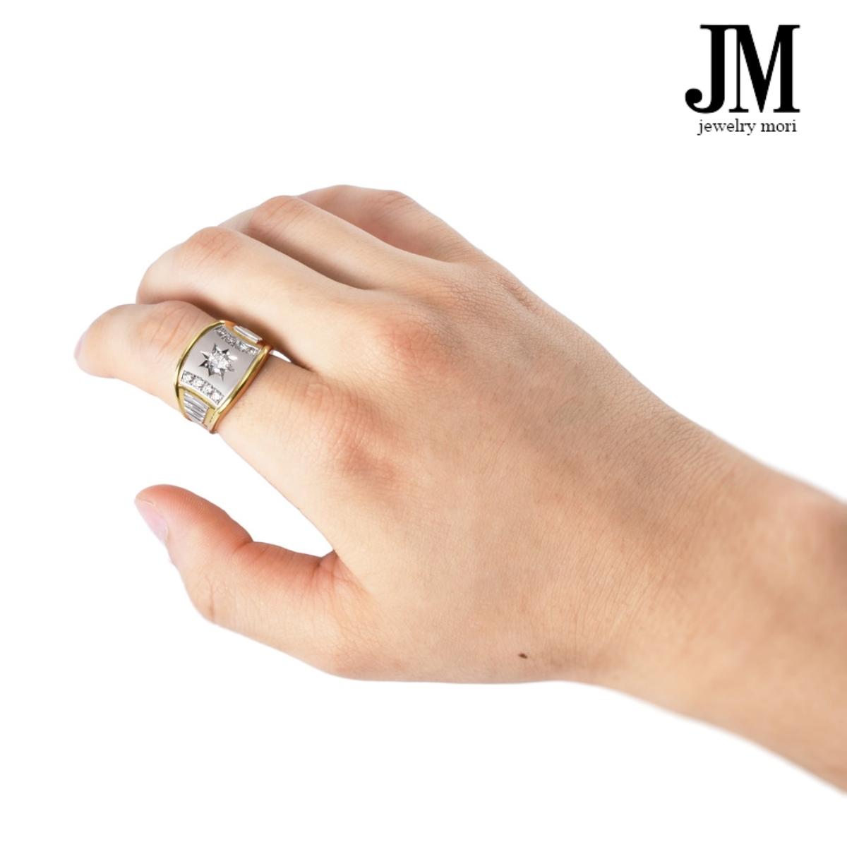 プラチナ900 K18ゴールド ダイヤモンド リング 19.5号 0.3ct Pt900 K18 メンズ 刻印入り