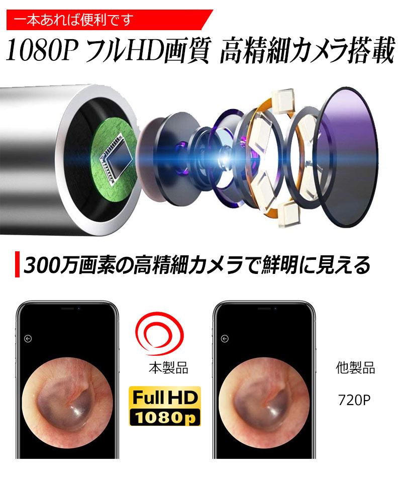 スマート耳かき 300万画素 3.5mm 超小型レンズ WiFi接続 無線 耳掃除 耳掻き みみかき カメラ付き耳かき 耳鏡 イヤースコープ LEDライト 光る スマホ 子供 子ども こども 高齢者 お年寄り プレゼント Bebird C3