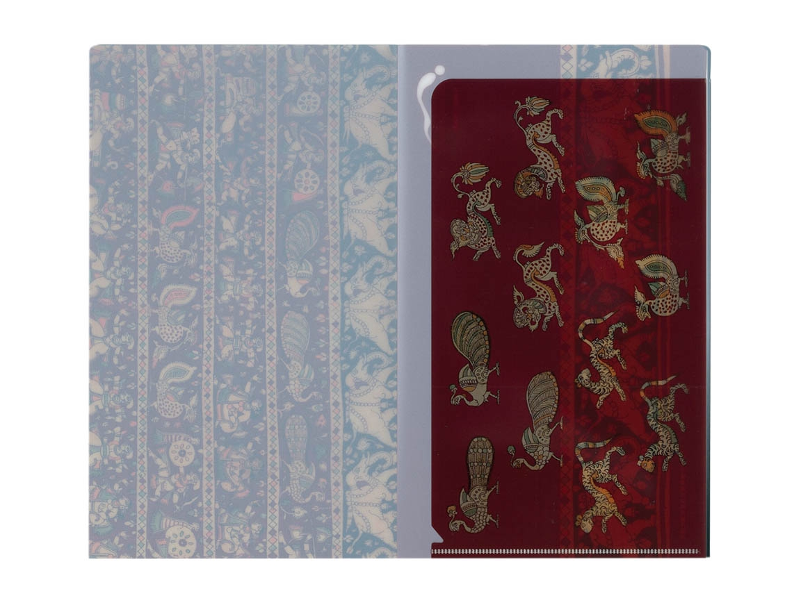 チケットホルダー 赤地段狩猟舞踏文様更紗儀礼用布