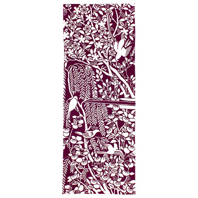 手ぬぐい 花鳥蒔絵螺鈿聖龕・紫