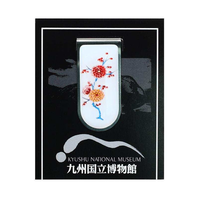 ブッククリップ 色絵花鳥文六角壺