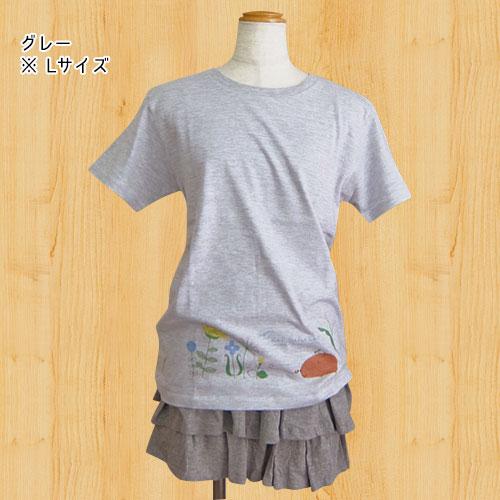 カピバラさん×シンジカトウ Tシャツ Flower garden グレー