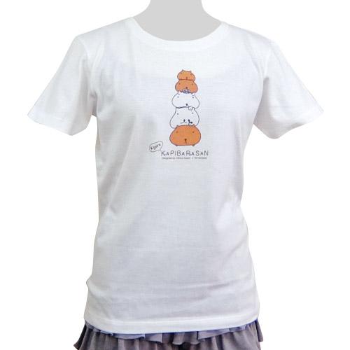 カピバラさん×シンジカトウ Tシャツ Shooting up ホワイト