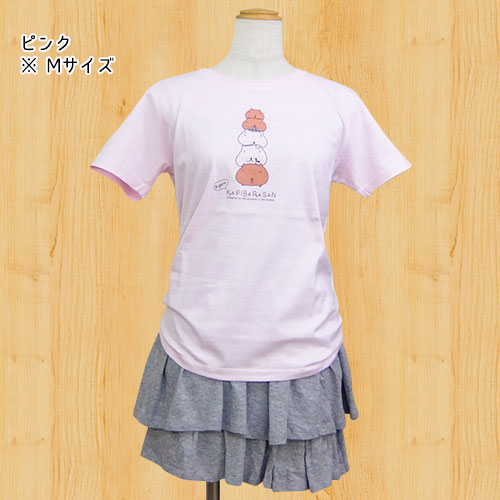 カピバラさん×シンジカトウ Tシャツ Shooting up ピンク