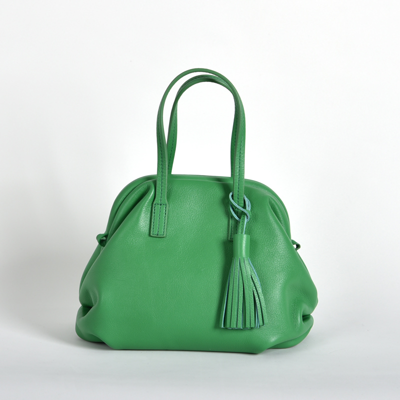 【LB × C コラボ商品】フレームソフトレザーバッグ S グリーンサラダ(green sarad)