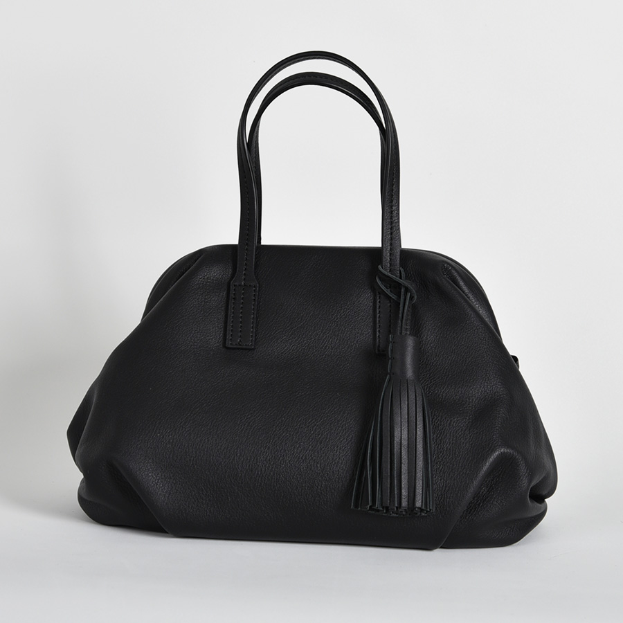 【LB × C コラボ商品】フレームソフトレザーバッグ M ブラックタピオカ(black tapioca)