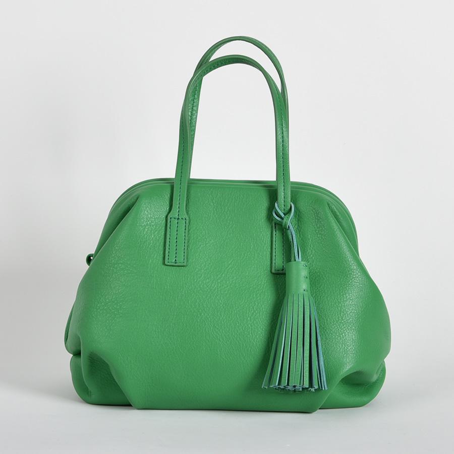 【LB × C コラボ商品】フレームソフトレザーバッグ M グリーンサラダ(green sarad)