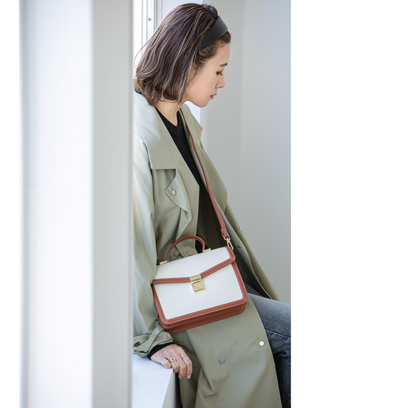 【インスタグラマーyukoさんDAME FRANKコラボ商品】キャンバスコンビショルダーバッグ