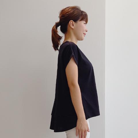 2021` Spring/Summer布帛見えカットソー後ろボタンチュニック【51435】