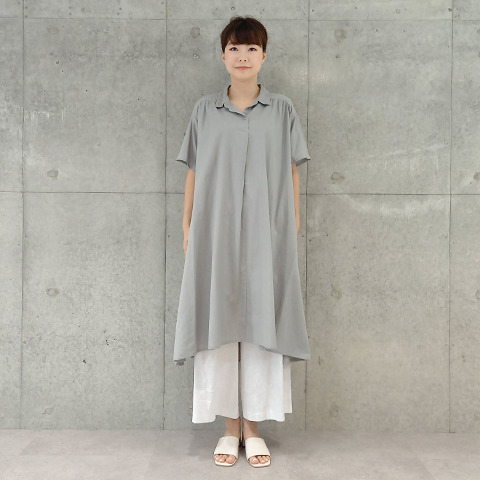 2021`Spring/Summer綿麻襟付ワンピース【276305-11】