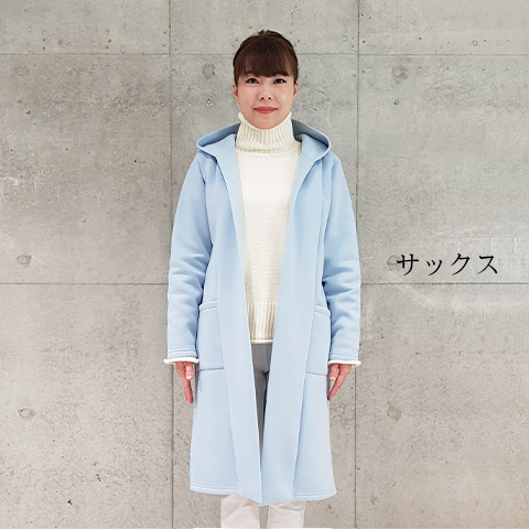 2021`Spring 【PONCHI】フード付きロングコーディガン  【4221502-28】