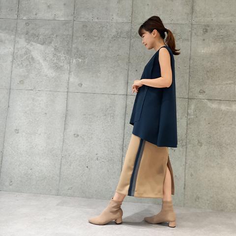 2021`Autumn/Winter【Aqua】配色タイトスカート 【7229790】