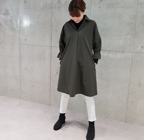 2020秋ナイロンストレッチチュニックワンピース【68314】