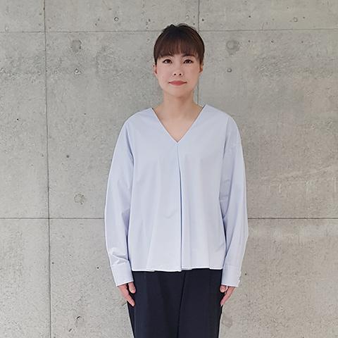 2021`Spring/SummerVネック綿タイプライターブラウス 【219006】