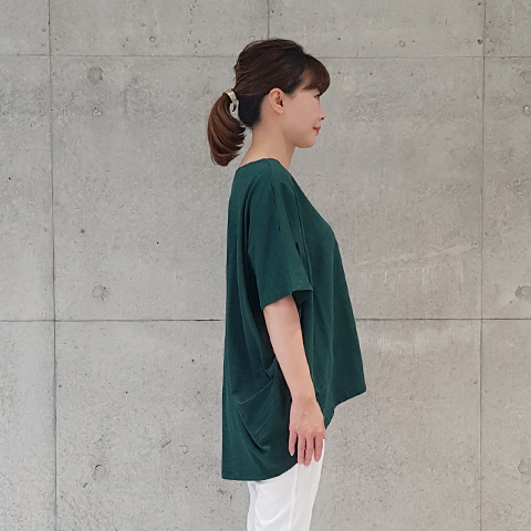 2021`Spring/Summe肩タック綿スラブプルオーバ【1328502】